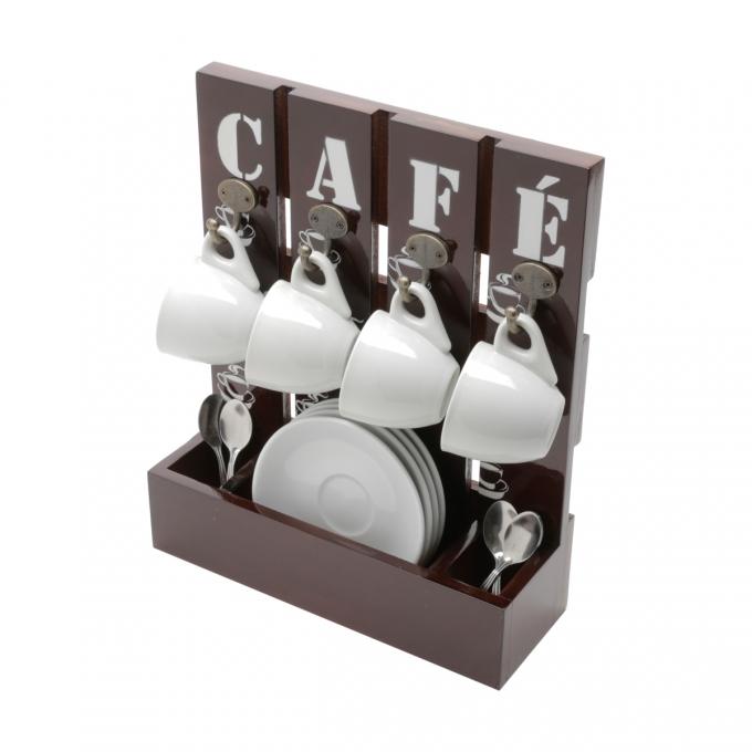 SUPORTE DE MADEIRA P/ CAFE 25X9X30CM